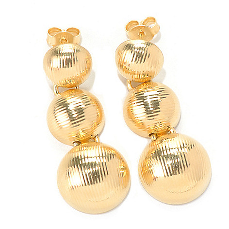 132-452 - Scintilloro™ Gold Embraced™ 1.5'' Textured Three-Tier Drop Earrings