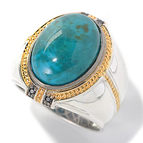 132-457 - Men's en Vogue II 18 x 13mm Chrysocolla & Black Spinel Polished Ring