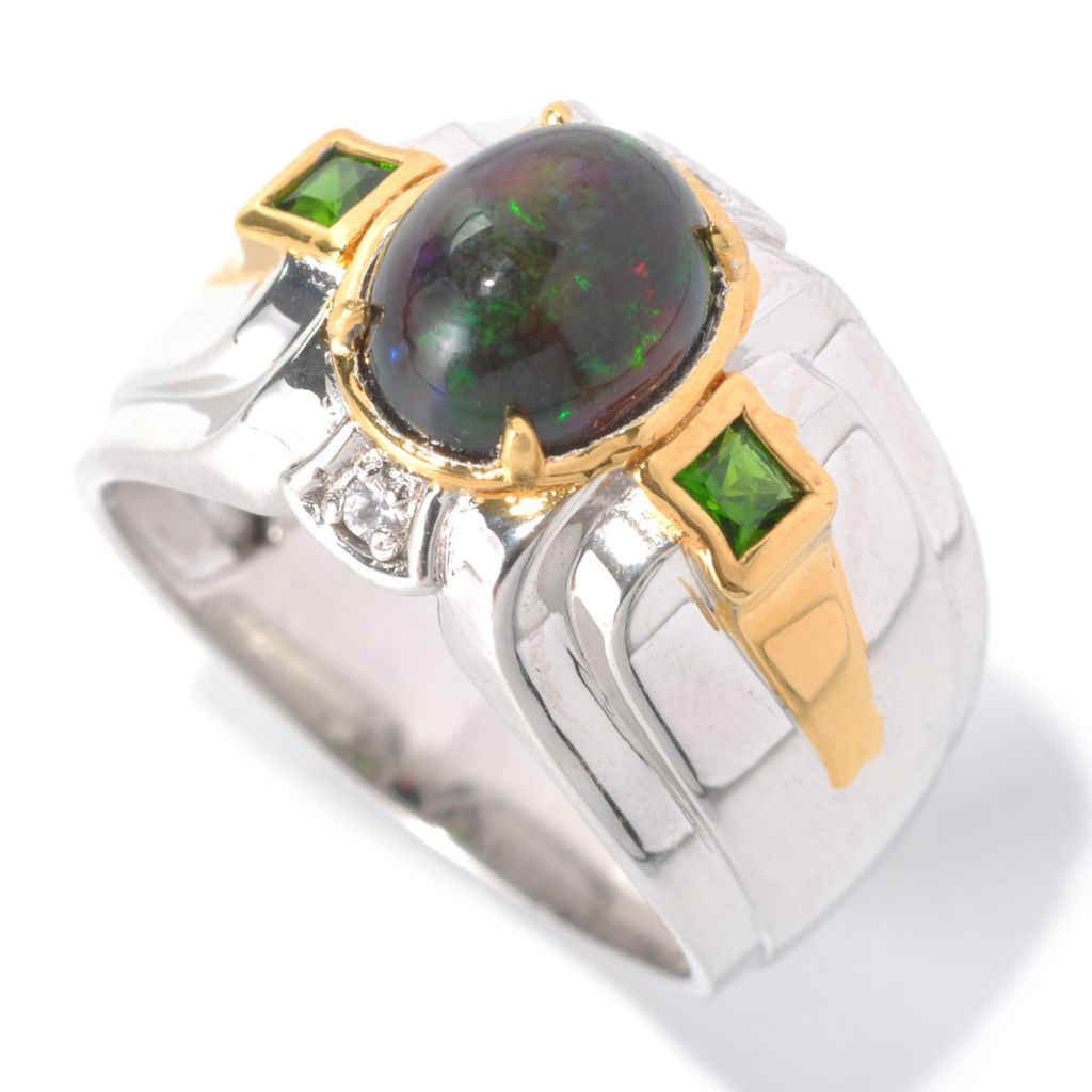 132-463 - Men's en Vogue II 10 x 8mm Smoked Black Opal, Chrome Diopside & White Sapphire Ring