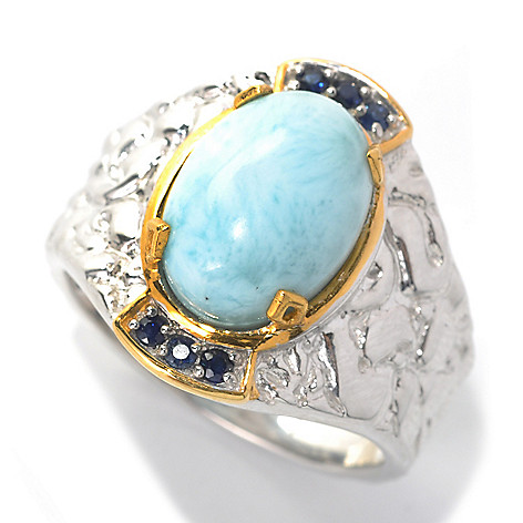 132-464 - Men's en Vogue II 14 x 10mm Larimar & Sapphire Textured Ring