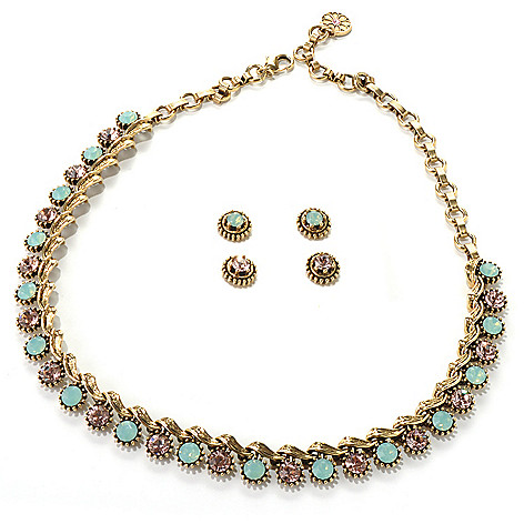 132-465 - Sweet Romance™ 16'' Crystal Collar Necklace & Two Stud Earrings Set
