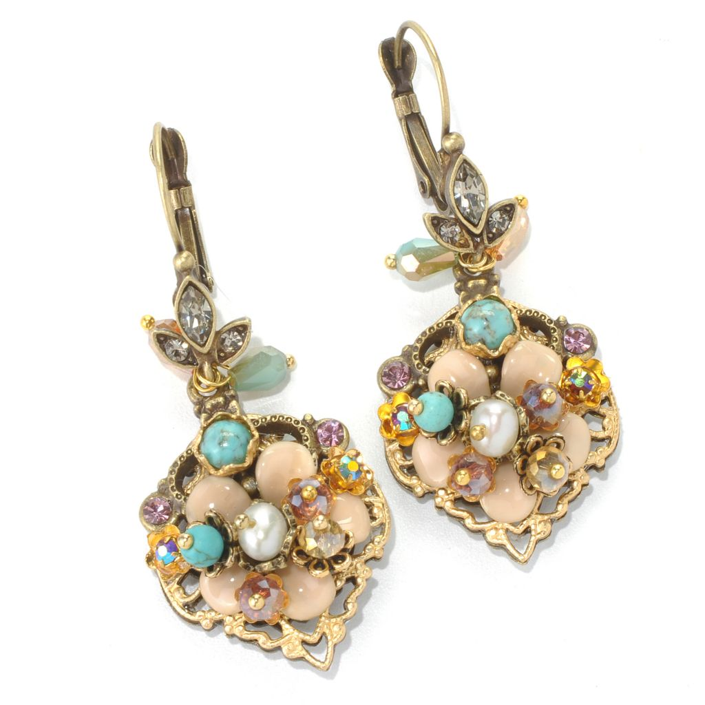 "132-470 - Sweet Romance™ 2.25"" Multi Color Beaded Cluster Floral Design Dangle Earrings"