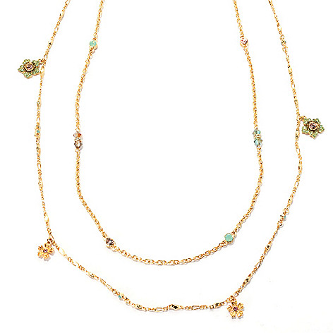 132-474 - Sweet Romance™ Set of Two 52'' & 48'' Crystal Jasmine Flower Necklaces