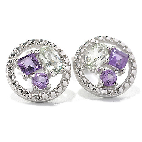 132-482 - Gem Insider Sterling Silver 1.71ctw Amethyst, Prasiolite & Diamond Earrings