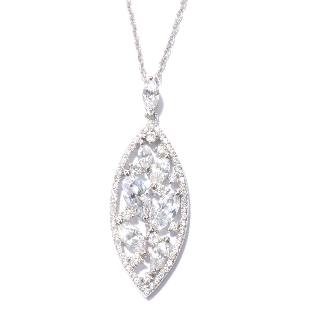 132-486 - Dare to Rare™ by Lucy Platinum Embraced™ 3.06 DEW Simulated Diamond Marquise Pendant