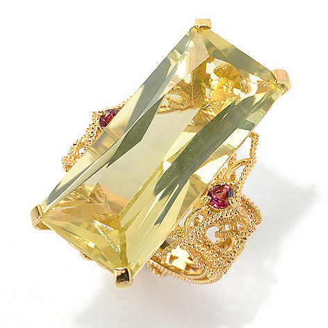 132-500 - Dallas Prince 20.87ctw Round & Emerald Cut Multi Gemstone North-South Ring