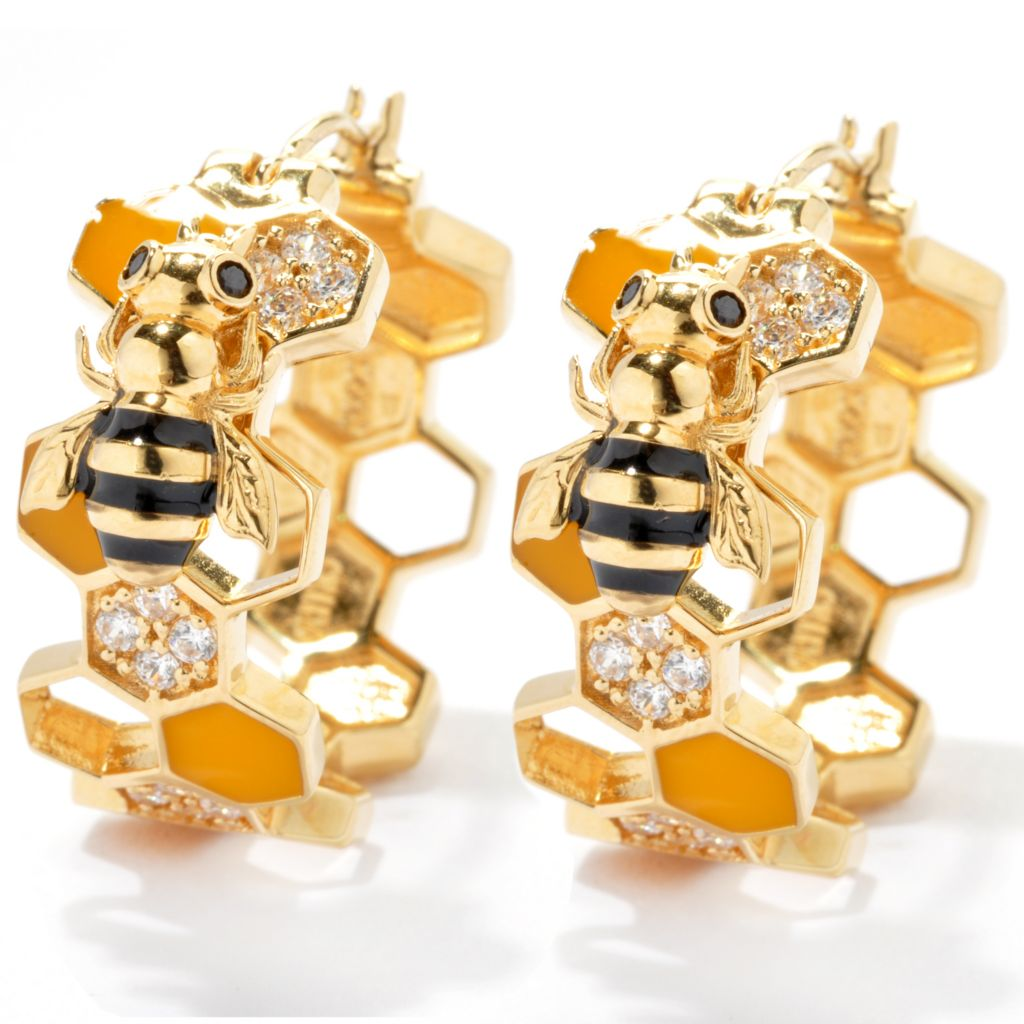 "132-503 - Neda Behnam Gold Embraced™ 1"" Simulated Diamond Honeycomb & Bumble Bee Hoop Earrings"