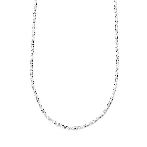 132-504 - SempreSilver® 24'' Polished Diamond Cut Bead Adjustable Necklace