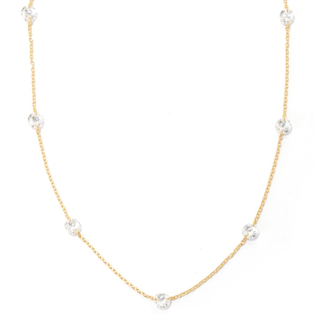 "132-511 - Brilliante® 18"" 8.40 DEW Rose Cut 100-Facet Simulated Diamond Station Necklace"
