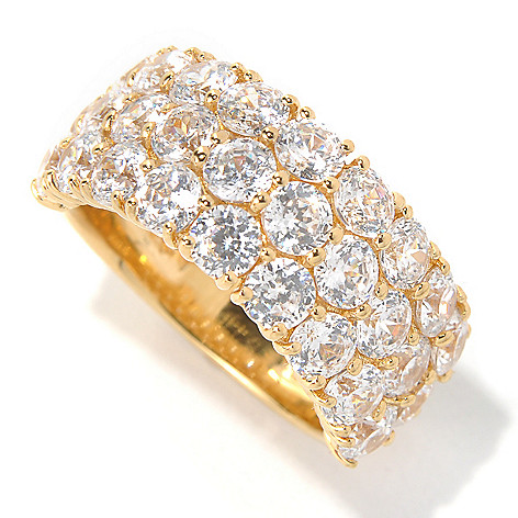 132-513 -  Brilliante® 5.35 DEW Round Faceted Simulated Diamond Three-Row Band Ring