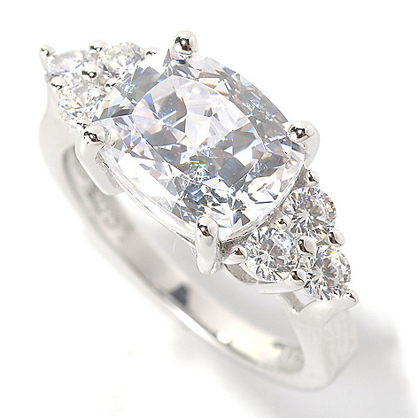 132-514 - Brilliante® Platinum Embraced™ 5.02 DEW 100-Facet Simulated Diamond East-West Ring