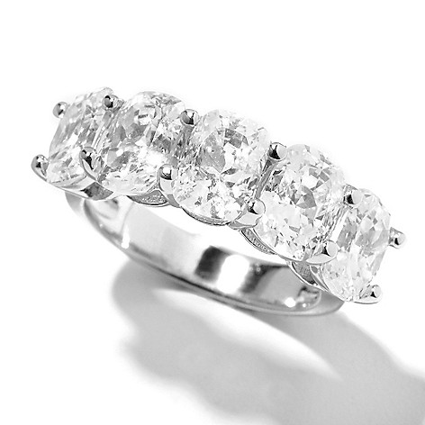 132-517 - Brilliante® Platinum Embraced™ 5.00 DEW 100-Facet Simulated Diamond Five-Stone Ring