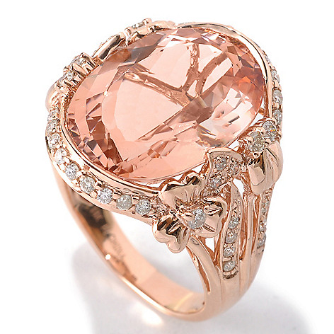 132-519 - Gem Treasures® 14K Rose Gold 11.45ctw Morganite & Diamond Framed Split Shank Ring