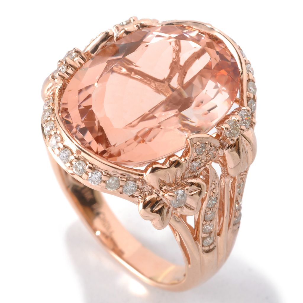 132-519 - Gem Treasures 14K Rose Gold 11.45ctw Morganite & Diamond Framed Split Shank Ring