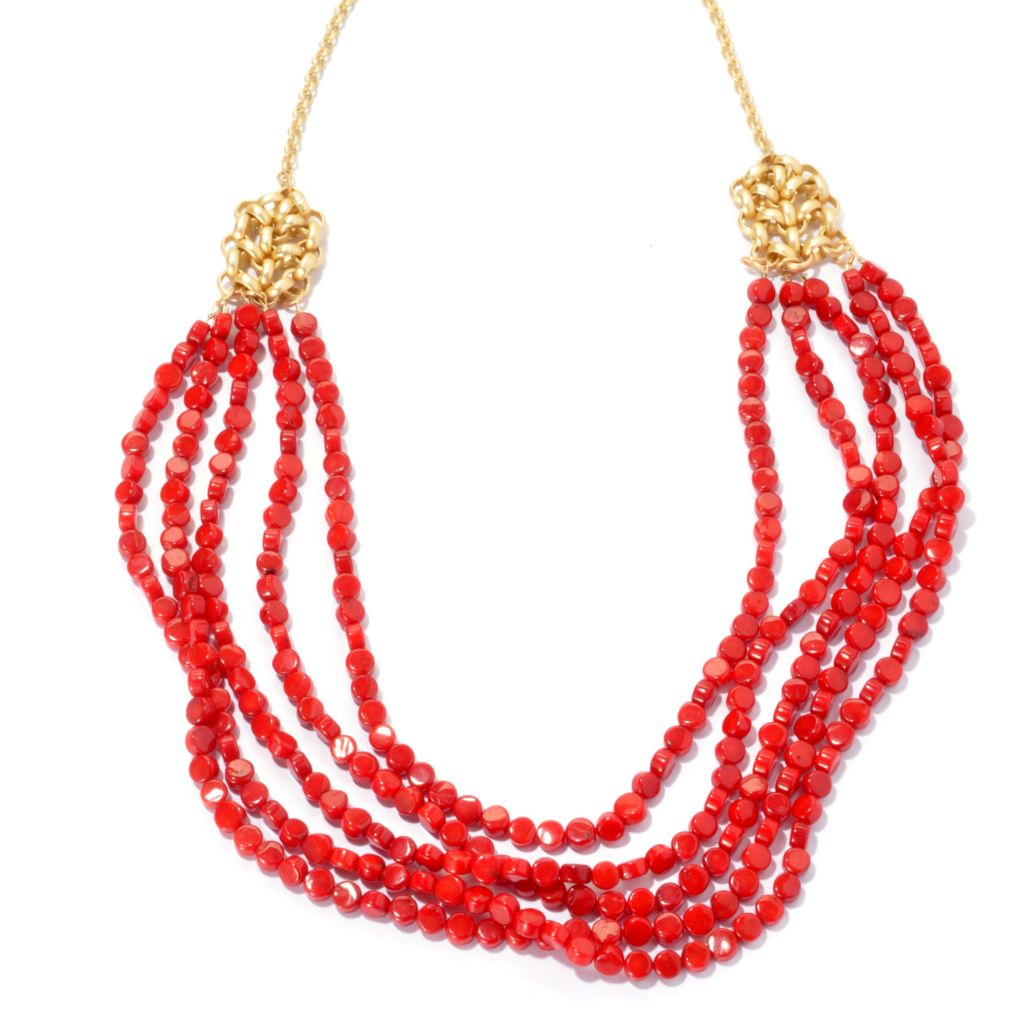"132-521 - mariechavez 27"" 6mm Dyed Red Coral Beaded Multi Strand Necklace"