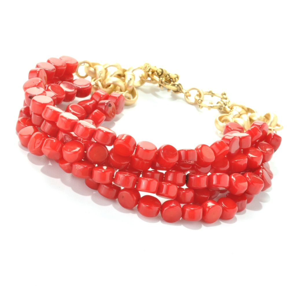 "132-522 - mariechavez 7.75"" 6 x 4mm Dyed Red Coral Beaded Multi Strand Toggle Bracelet"