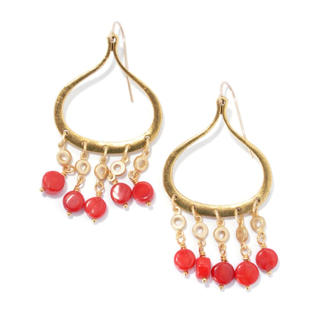 "132-523 - mariechavez 2.25"" 6mm Dyed Red Coral Teardrop Shaped Chandelier Earrings"
