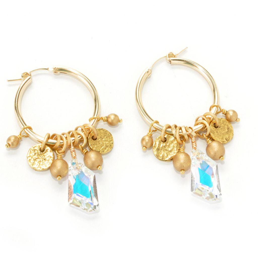 """132-525 - mariechavez 2"""" Czech Glass Dangle Hoop Earrings Made w/ Swarovski® Elements"""