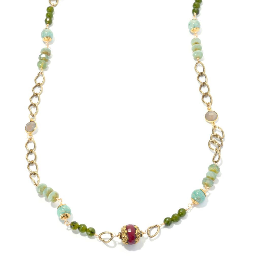 "132-531 - mariechavez 36"" Multi Gemstone & Link Station Necklace Made w/ Swarovski® Elements"