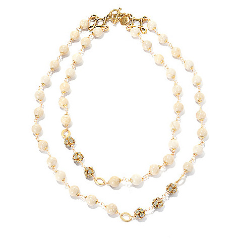 132-533 - mariechavez 17.5'' River Stone Double Strand Necklace Made w/ Swarovski® Elements