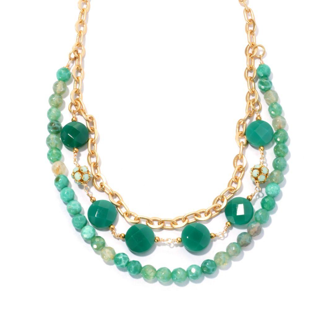 "132-535 - mariechavez 18"" Beaded Agate Chain Necklace Made w/ Swarovski® Elements"