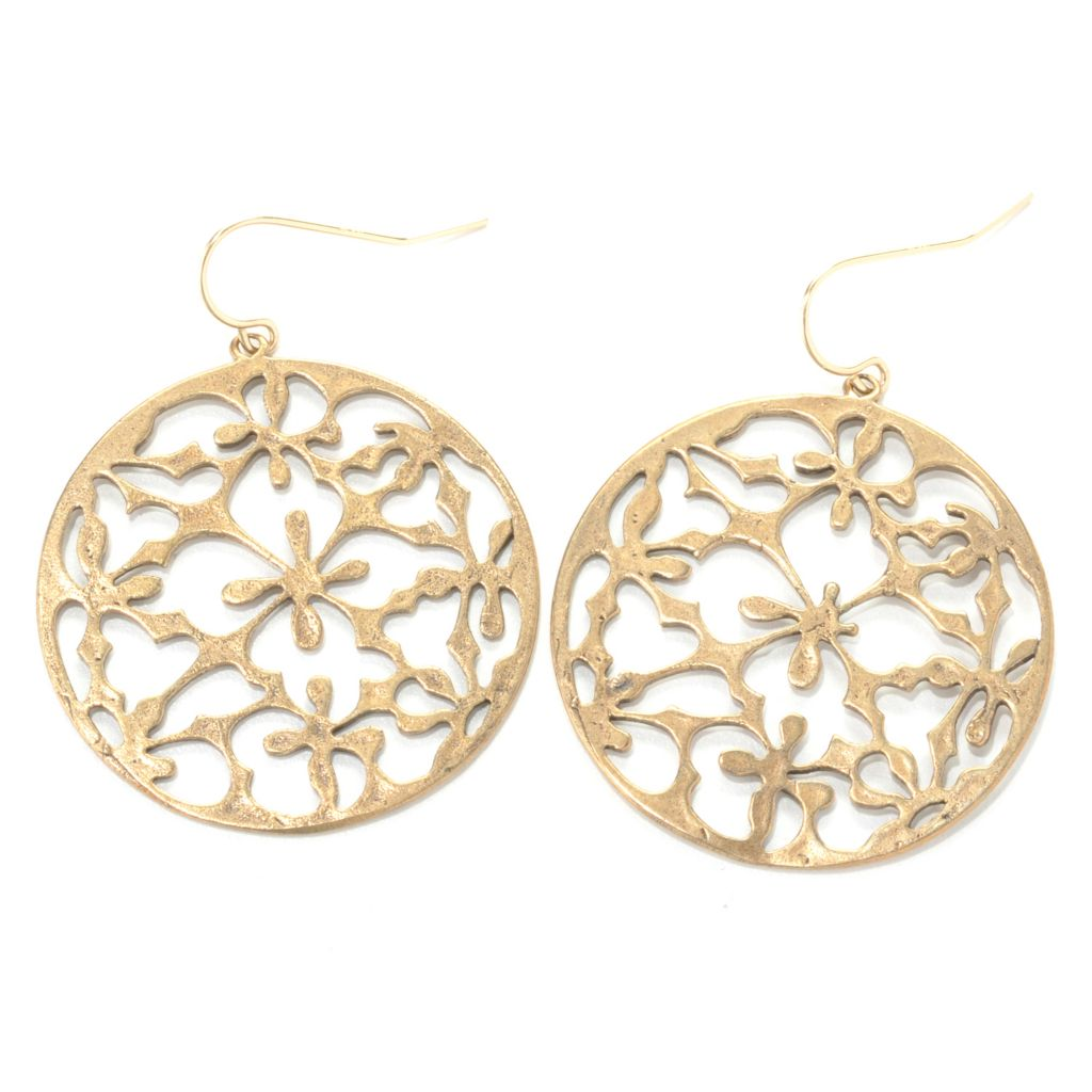 "132-539 - mariechavez 1.75"" Floral Cut-out Disk Dangle Earrings"
