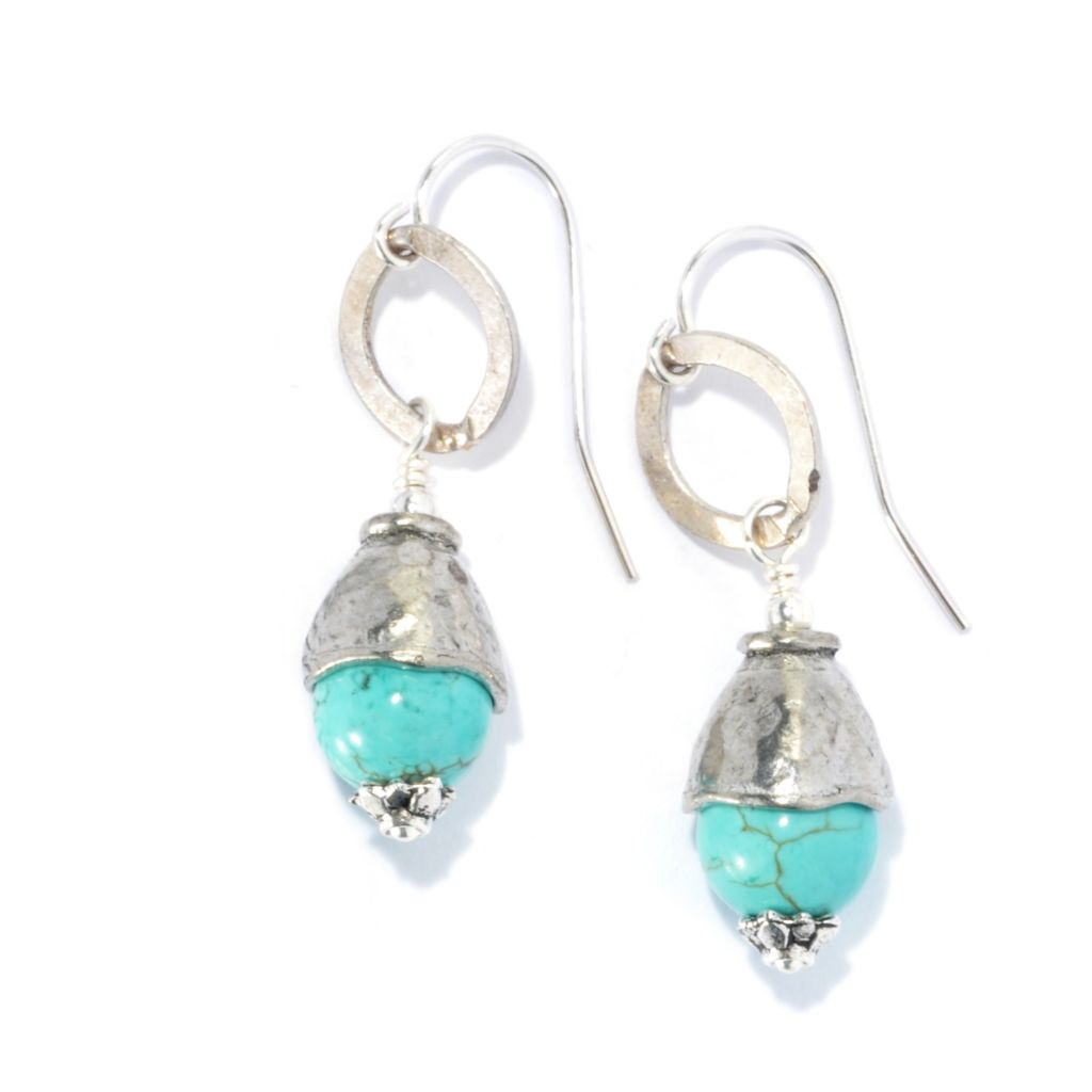 "132-542 - mariechavez 1.5"" Capped Turquoise Ball Drop Earrings"