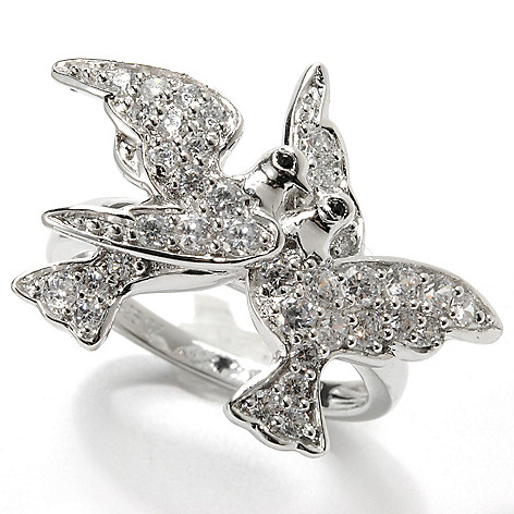 132-543 - Champenois® Black & White Simulated Diamond Two Loving Doves Polished Band Ring