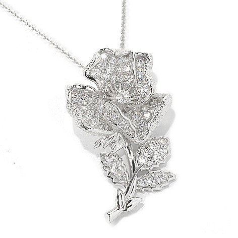 132-548 -  Champenois® 2.11 DEW Pave Set Simulated Diamond Flower Pendant w/ 18'' Chain