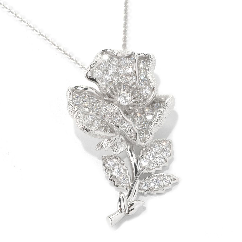"132-548 -  Champenois® 2.11 DEW Pave Set Simulated Diamond Flower Pendant w/ 18"" Chain"