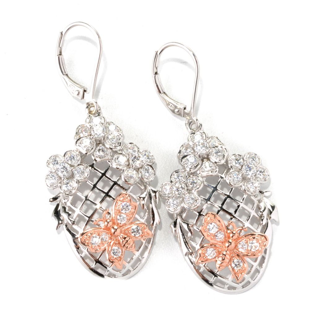 "132-552 - Champenois® 1.75"" 1.64 DEW Two-tone Simulated Diamond Garden Butterfly & Flower Earrings"