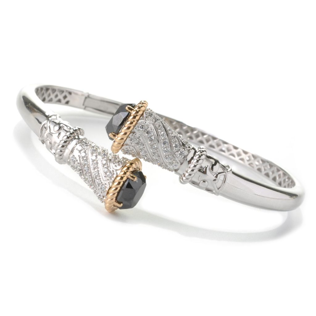 132-554 - Champenois® Two-tone 6.13 DEW Simulated Diamond Hinged Bypass Cuff Bracelet