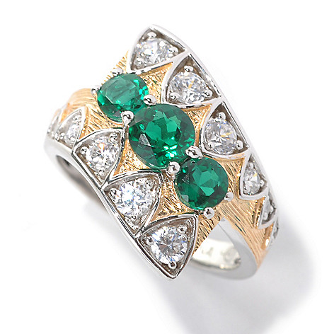 132-555 - Champenois® Two-tone 1.30 DEW Simulated Diamond & Simulated Emerald Three-Stone Ring
