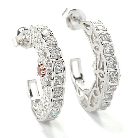 132-556 - Champenois® 1'' 2.08 DEW Round Simulated Diamond & Simulated Ruby C-Hoop Earrings