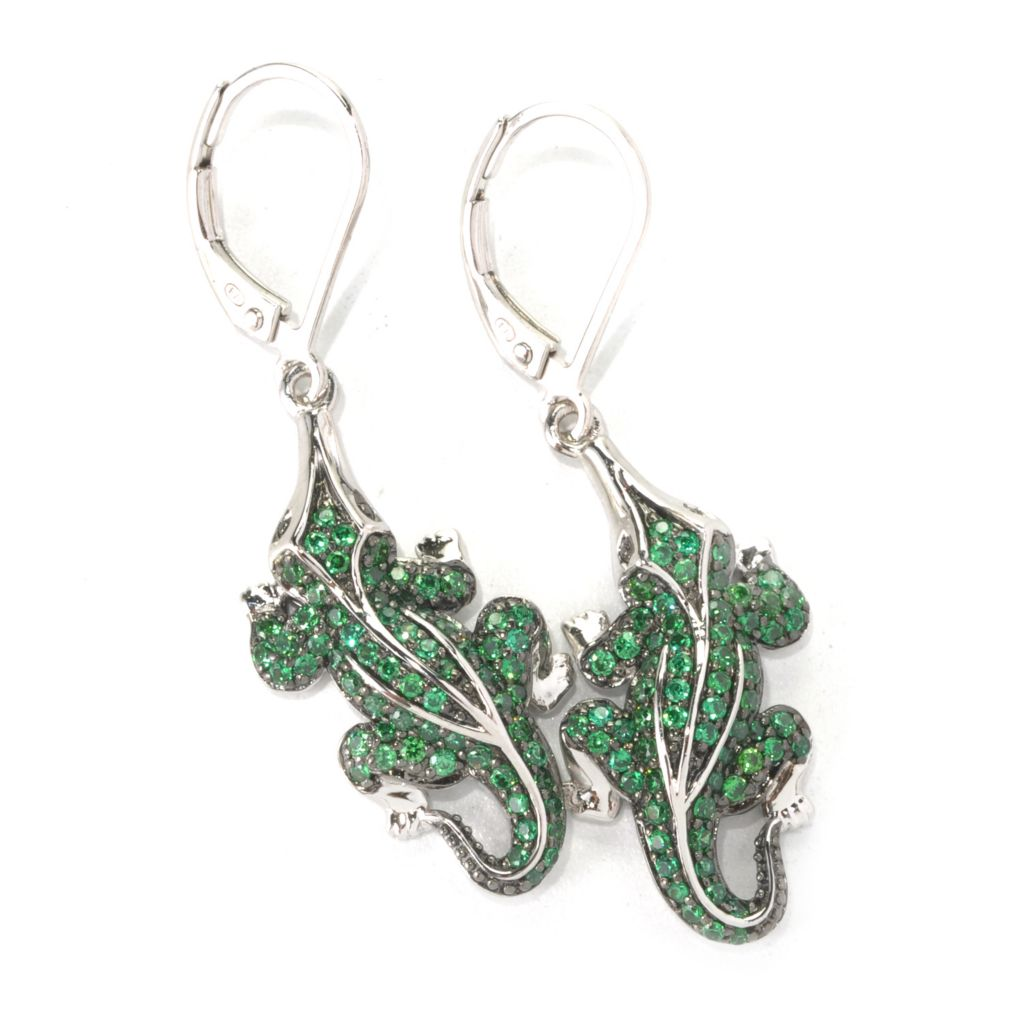 "132-560 -  Neda Behnam 1.5"" Two-tone 1.17 DEW Green Simulated Diamond Alligator Drop Earrings"
