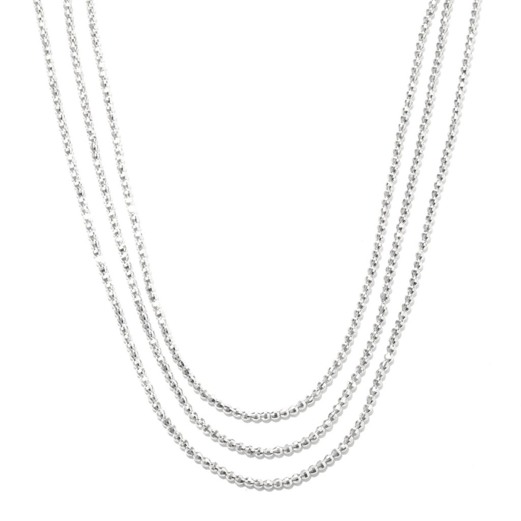 "132-562 - Palatino™ Platinum Embraced™ 18"" Three-Strand Diamond Cut Bead Necklace"