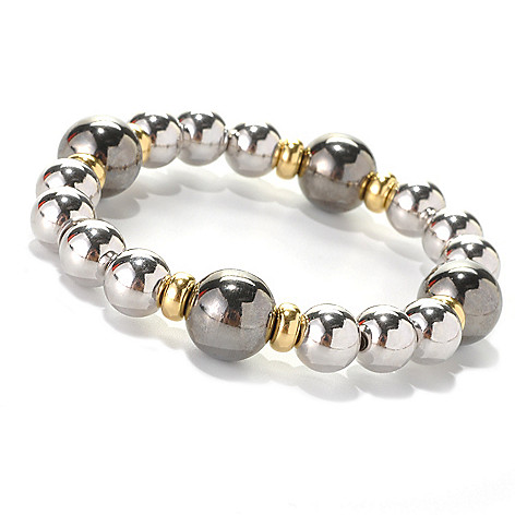 132-565 - Palatino™ Platinum Embraced™ Tri-tone 6'' High Polished Bead Stretch Bracelet