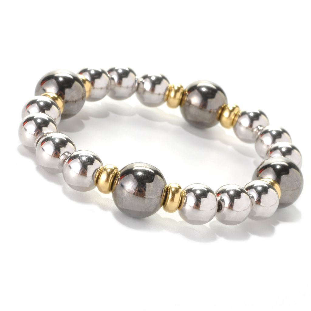 "132-565 - Palatino™ Platinum Embraced™ Tri-tone 6"" High Polished Bead Stretch Bracelet"