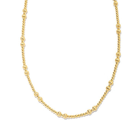 132-567 - Portofino Gold Embraced™ 20'' High Polished Fancy Bead Station Necklace