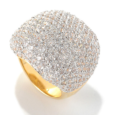 132-574 - Brilliante® Gold Embraced™ 6.68 DEW Pave Simulated Diamond Square Dome Ring