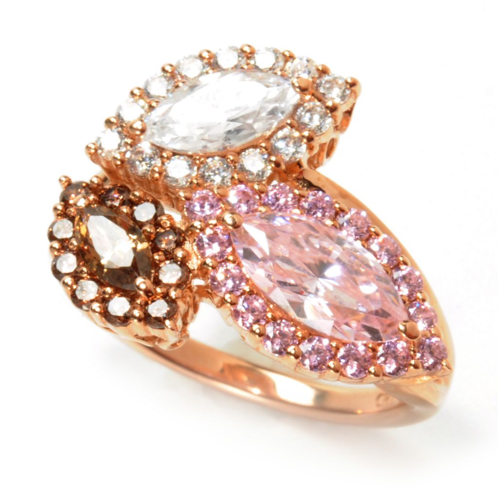 132-575 - Dare to Rare™ Rose Gold Embraced&trade 2.46 DEW Simulated Diamond Three-Stone Ring