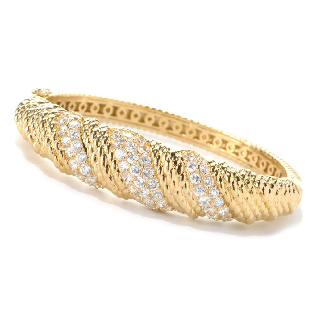 132-576 - Brilliante® Gold Embraced™ 6.09 DEW Simulated Diamond Hinged Bangle Bracelet
