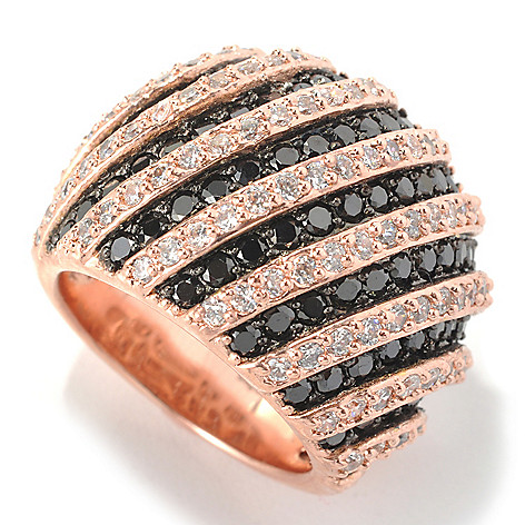 132-577 - Brilliante® Rose Gold Embraced™ 3.09 DEW Black & White Simulated Diamond Dome Ring
