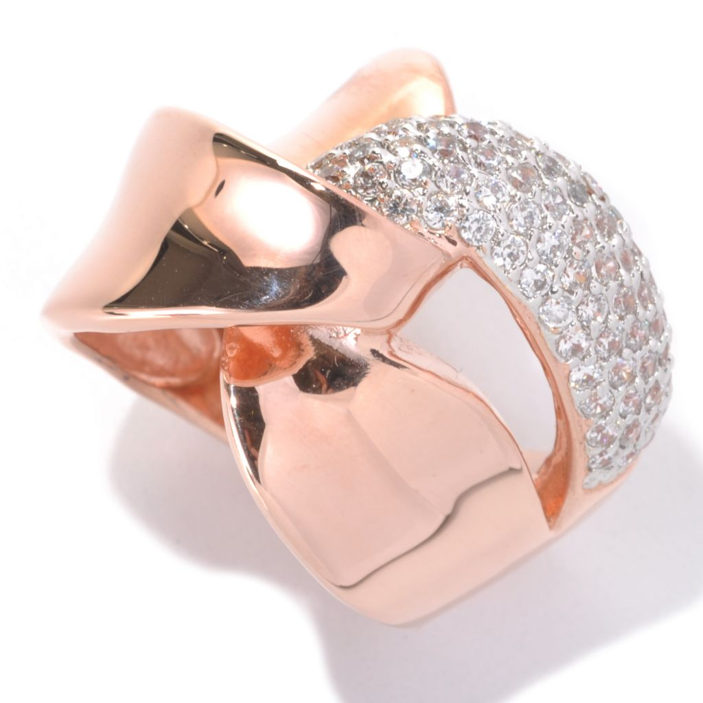 132-579 - Brilliante® 18K Rose Gold Embraced™ 1.02 DEW Simulated Diamond Intertwined Ring