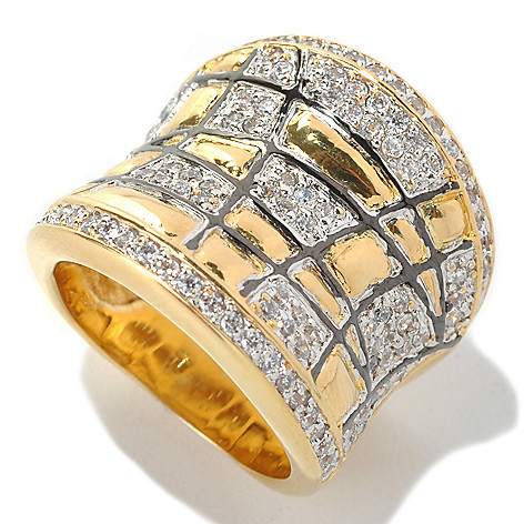 132-581 - Brilliante® Two-tone 1.15 DEW Simulated Diamond Geometric Lines Concave Ring