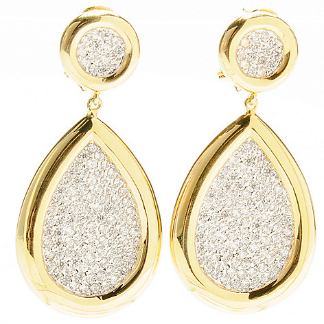 132-585 - Brilliante® 2'' 3.12 DEW Simulated Diamond Teardrop Dangle Earrings w/ Omega Backs