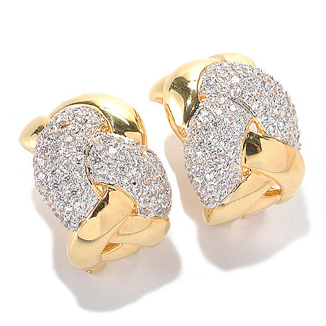 132-587 - Brilliante® Gold Embraced™ 2.37 DEW Simulated Diamond Braided Huggie Hoop Earrings
