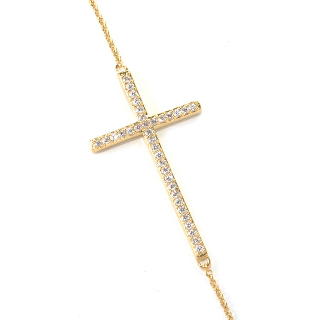 "132-589 -  Brilliante® 16"" Simulated Diamond East-West Cross Necklace w/ 2"" Extender"