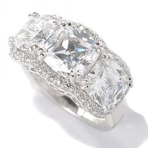 132-591 - Brilliante® Platinum Embraced™ 6.22 DEW Simulated Diamond Heather's Three-Stone Ring