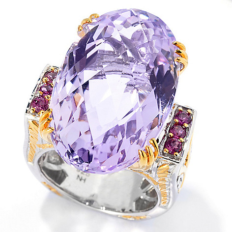 132-594 - Gems en Vogue 22.24ctw Checkerboard Cut Pink Amethyst & Rhodolite Ring
